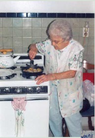 Mary cooking bread balls
